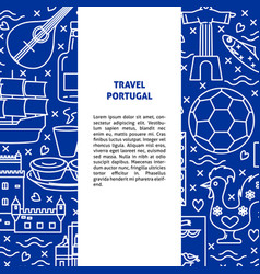 travel portugal concept banner template in line vector image