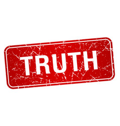 Truth red square grunge textured isolated stamp vector