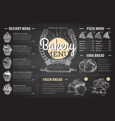 vintage chalk drawing bakery menu design vector image