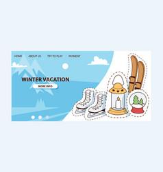 winter vocation ski skates vector image