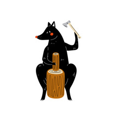 wolf chopping wood with ax animal character vector image