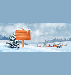 wooden signboard village and snowy landscape vector image