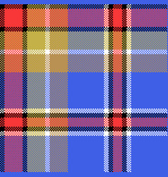 Blue check fabric texture square pixel seamless vector