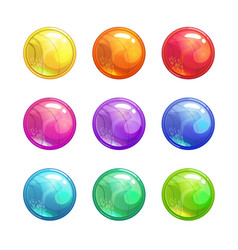 cartoon glossy colorful round buttons vector image