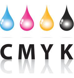 Cmyk ink drop color paint print vector