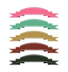 Retro color ribbon banner set on white background vector image