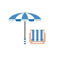 beach umbrella and deck chair vector image