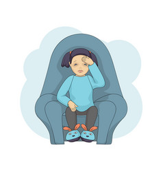 little female character cartoon cold isolated on vector image