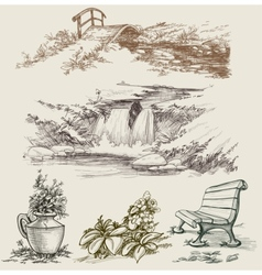 Park or garden design elements vector image vector image