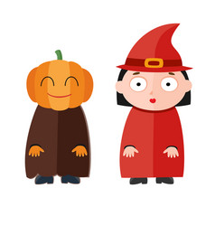 Cute kids wearing halloween vector