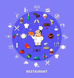 restaurant symbols round composition vector image