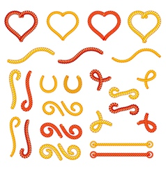 Rope knots collection set random shapes vector image vector image