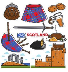 scotland uk travel tourism landmarks and famous vector image