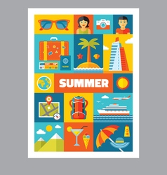 Summer holiday - mosaic poster with icons vector image vector image