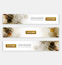 web headers or banners with abstract hexagonal vector image vector image