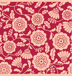 doodle style flowers seamless pattern vector image vector image