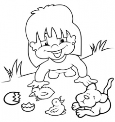 girl and young animals vector image