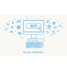 Online shopping thin blue line design vector