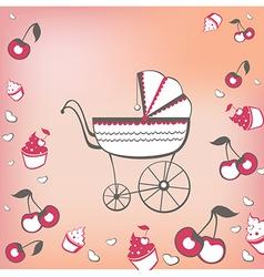 pram and cherry vector image