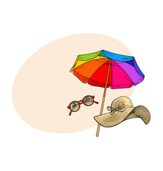 Straw hat with wide flaps round sunglasses and vector