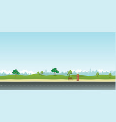 street in public park with nature landscape vector image