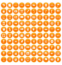 100 cartography icons set orange vector