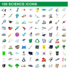 100 science icons set cartoon style vector image