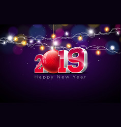2019 happy new year with 3d gold vector image