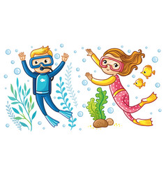 a boy and a girl swim under water vector image