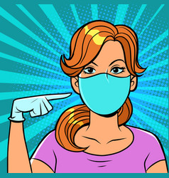 A woman wearing medical gloves and mask vector