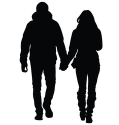 A young couple in love walking in the city vector