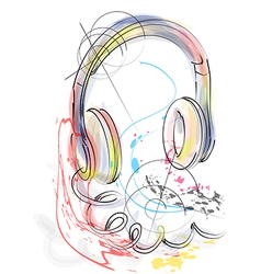 Abstract head phones vector