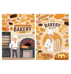 Bakery shop cakes baker patisserie pastry menu vector