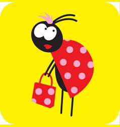 beetle girl with a red shopping bag vector image