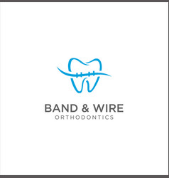 Braces tooth dental care logo wire orthodontic vector