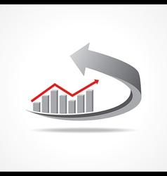 Business graph on arrow vector