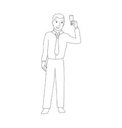 Businessman raising champagne glass vector image