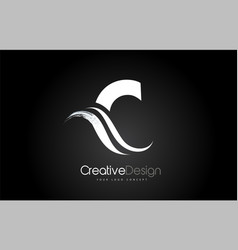 C letter design brush paint stroke on black vector