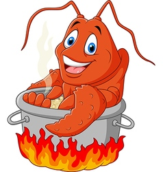 Cartoon funny lobster being cooked in a pan vector image