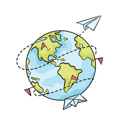 Cartoon planet with paper ships and airplanes vector
