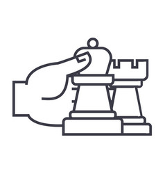 chess strategy and tactics linear icon sign vector image