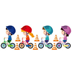 children riding bike with helmet on vector image