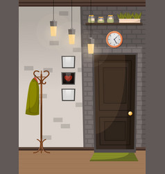 Coffeehouse or home interior entrance with door vector