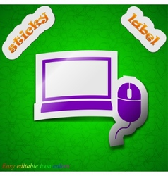 Computer widescreen monitor mouse icon sign Symbol vector
