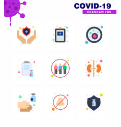 coronavirus awareness icons 9 flat color icon vector image