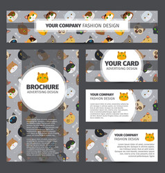 Corporate identity design with cats pattern vector