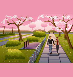Couple walking during cherry blossom vector