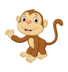 cute bamonkey waving hand vector image