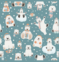 cute polar bear seamless pattern elements for vector image