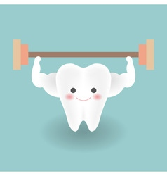 cute smiley strong white teeth feels happy while vector image vector image